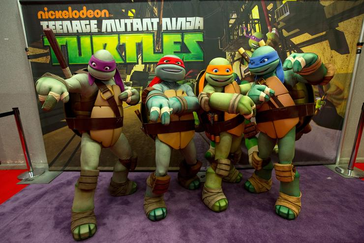 Nickelodeon's Teenage Mutant Ninja Turtles emerge at the NY Comic Con 2012 at Jacob Javitz Center on October 11, 2012 in New York City
