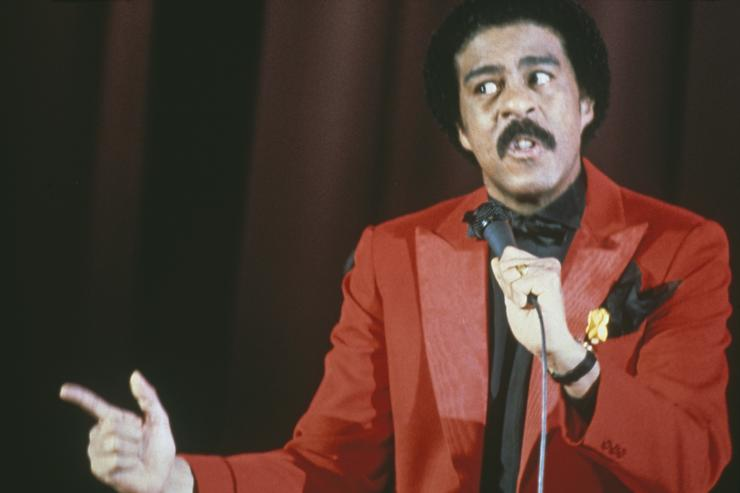 American comedian Richard Pryor (1940 - 2005) during a stage show, circa 1977.