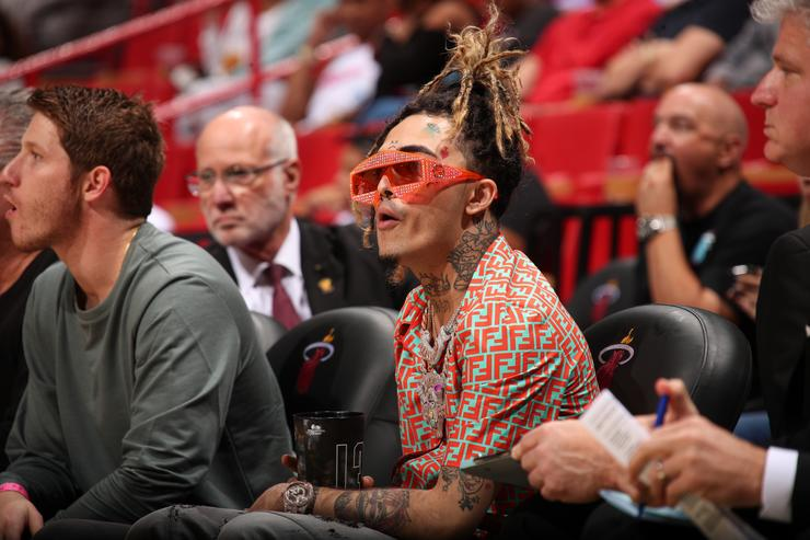 Lil Pump, attends a game between the Detroit Pistons and the Miami Heat on March 13, 2019 at American Airlines Arena in Miami, Florida