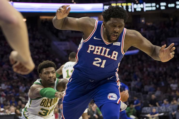 Marcus Smart shoves Joel Embiid after cheap elbow