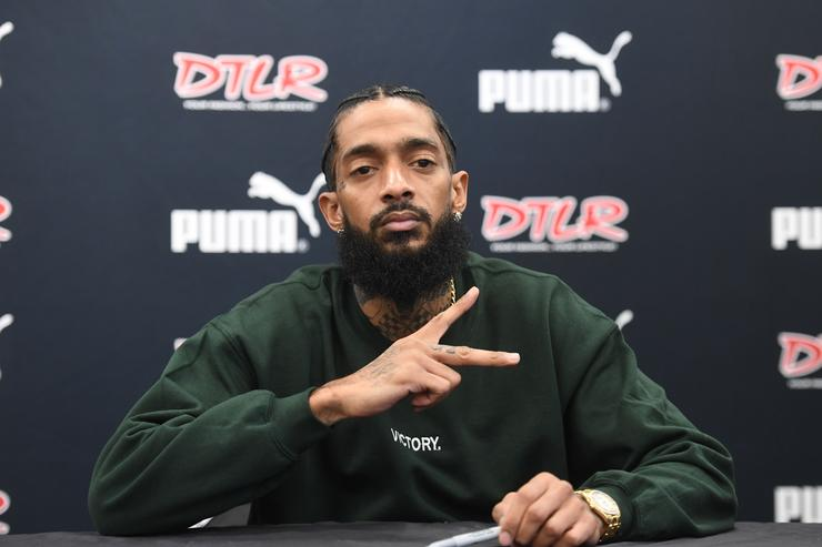 Rapper Nipsey Hussle attends his 'Victory Lap' CD Signing at DTLR on February 25, 2018 in Decatur, Georgia.