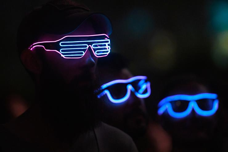 Festivalgoers watch Gesaffelstein perform at the Outdoor Theatre during the 2019 Coachella Valley Music And Arts Festival on April 14, 2019 in Indio, California.