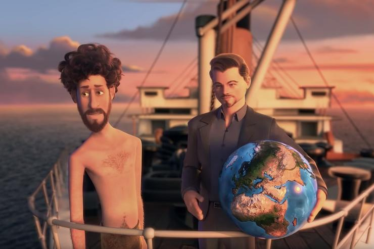 """Lil Dicky and Leonardo DiCaprio in the """"Earth"""" music video"""
