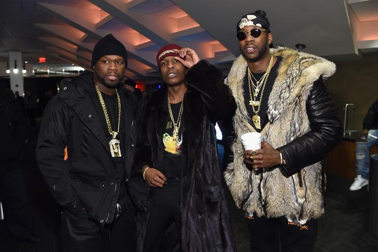 ASAP Rocky, 50 cent & 2 chainz at yeezy season 3