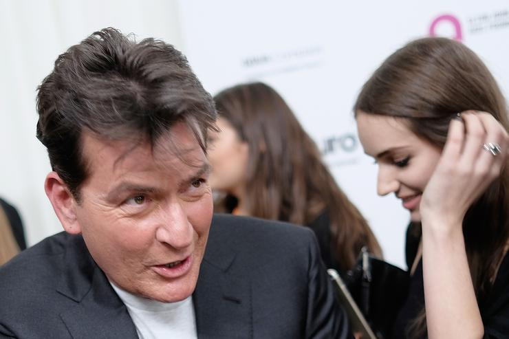 Charlie Sheen at 24th Annual Elton John Aids foundation Oscar viewing party.