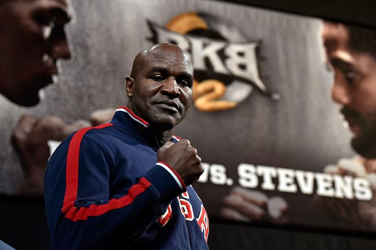 Former boxer Evander Holyfield appears during the BKB 2 weigh-in at the Mandalay Bay Events Center on April 3, 2015 in Las Vegas, Nevada.