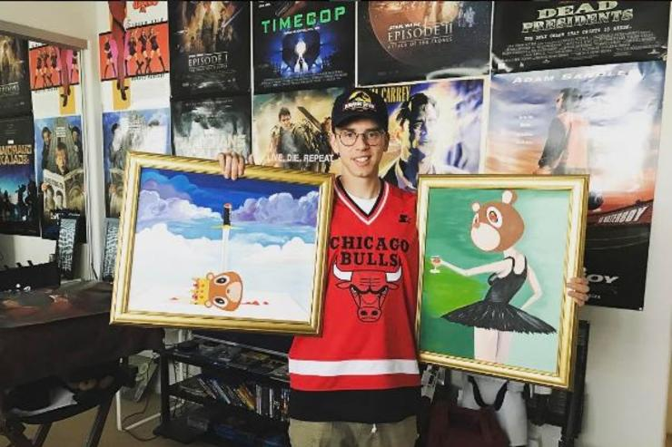 Logic poses in his gaming room.