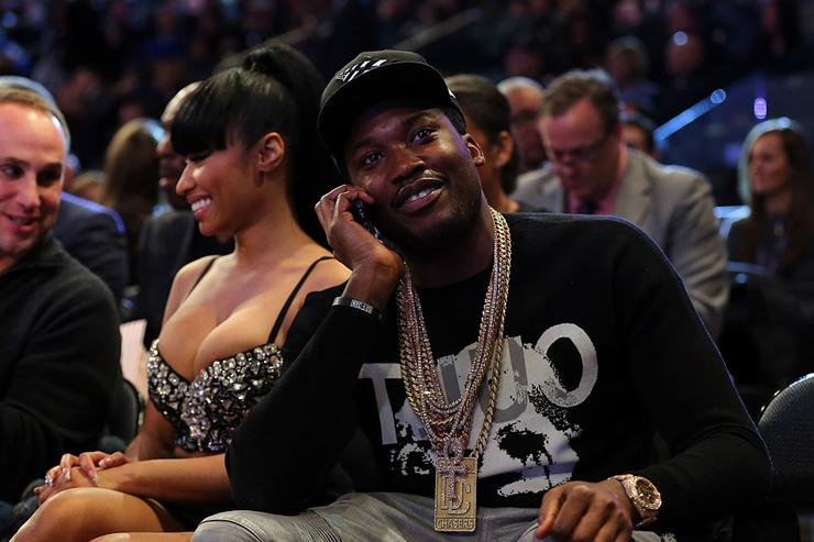 Nicki Minaj and Meek Mill sit court side during the 2015 NBA All-Star Game at Madison Square Garden on February 15, 2015 in New York City.