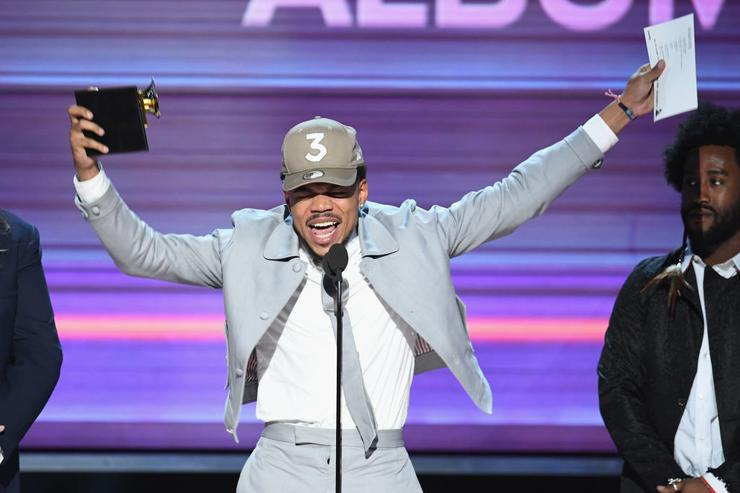 Chance the Rapper accepts the Best Rap Album award for 'Coloring Book' onstage during The 59th GRAMMY Awards at STAPLES Center on February 12, 2017 in Los Angeles, California.
