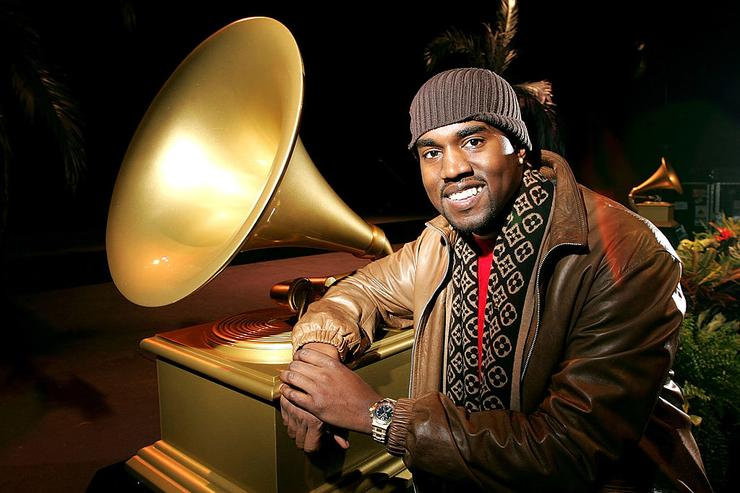 Kanye West poses for photos after receiving 10 Grammy nominations at the 47th Annual GRAMMY Awards at The Music Box December 7, 2004 in Hollywood, California.