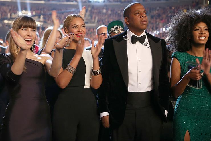 Actress Jessica Biel, singer Beyonce, rapper Jay-Z and singer Solange Knowles attend the 55th Annual GRAMMY Awards at STAPLES Center on February 10, 2013 in Los Angeles, California.