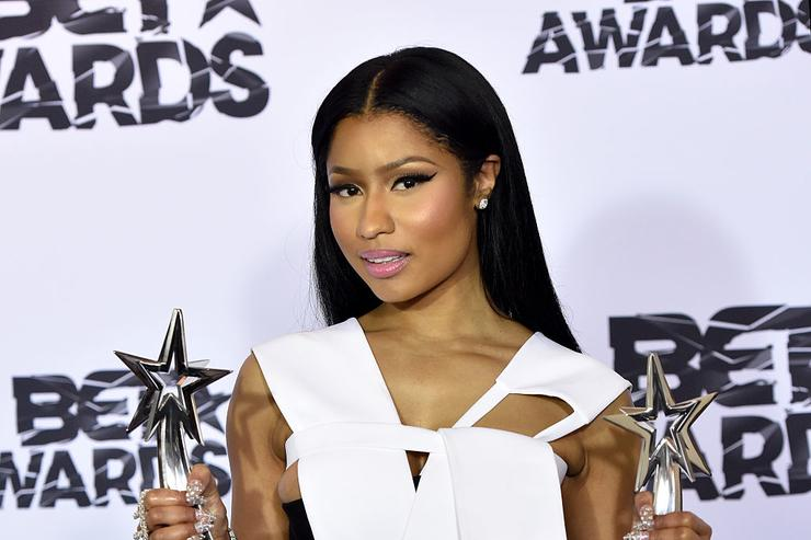Nicki Minaj, winner of Best Female Hip Hop Artist and the Coca Cola Viewers' Choice Awards, poses in the press room during the 2015 BET Awards at the Microsoft Theater on June 28, 2015 in Los Angeles, California.