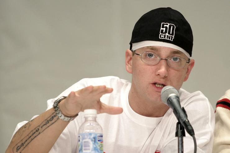 Rap artist Eminem speaks to the crowd about his financial past and present at the 1st Financial Hip Hop Summit May 14, 2005 in Detroit, Michigan. The summit, which brought together Russell Simmons, Eminem, Lil John, The Eastside Boyz, Reverend Run, D12, Fantasia, Stat Quo, Obie Trice, Master O, Common, and MC Search, was designed to raise awareness of young adults 18-35 about the importance of financial empowerment.