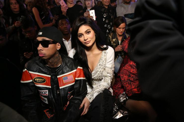 Tyga and Kylie Jenner attend the Philipp Plein collection during, New York Fashion Week: The Shows at New York Public Library on February 13, 2017 in New York City.