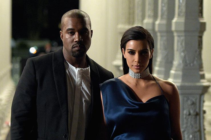 Recording artist Kanye West (L) and TV personality Kim Kardashian attend the 2014 LACMA Art + Film Gala honoring Barbara Kruger and Quentin Tarantino presented by Gucci at LACMA on November 1, 2014 in Los Angeles, California.