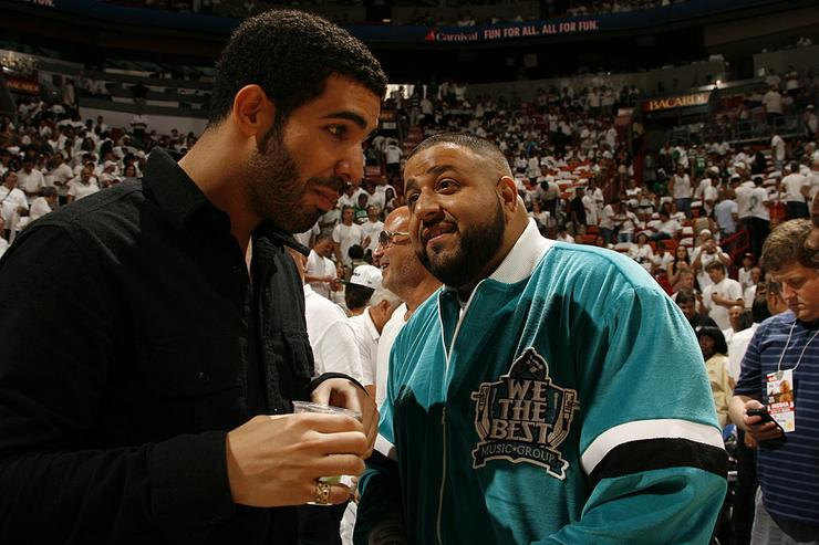 Drake and DJ Khaled sit court side in Game One of the Eastern Conference Semifinals between the Boston Celtics and Miami Heat in the 2011 NBA Playoffs on May 1, 2011 at American Airlines Arena in Miami, Florida.