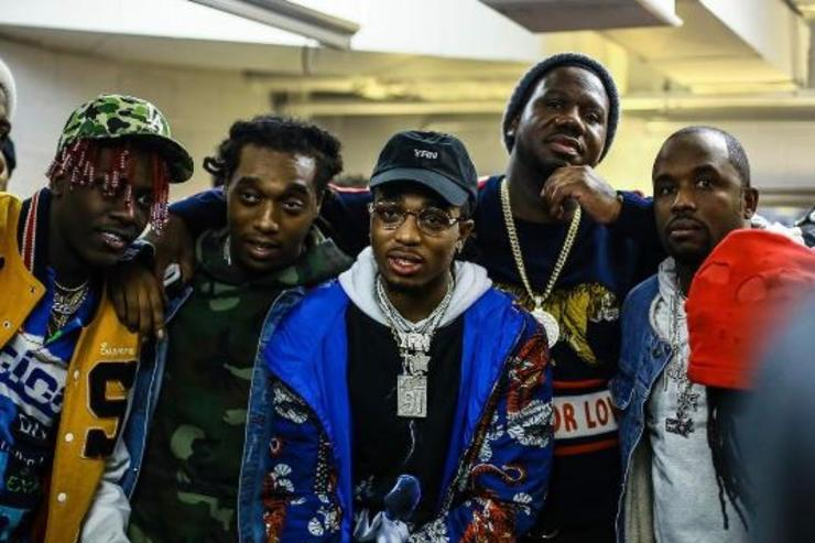 Lil Yachty, Quavo and Takeoff pose for a photo with other members of record label Quality Control.
