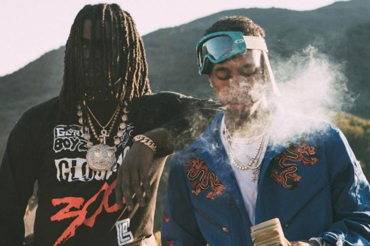 Chief Keef & Tyga pose on the set on their latest music video.
