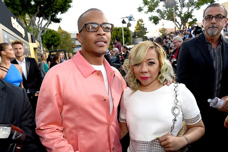 Rapper T.I. (L) and Tameka Cottle attend the premiere of Warner Bros. Pictures' 'Entourage' at Regency Village Theatre on June 1, 2015 in Westwood, California.