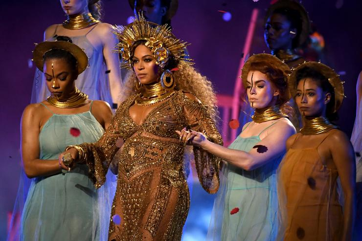 Beyonce performs onstage during The 59th GRAMMY Awards