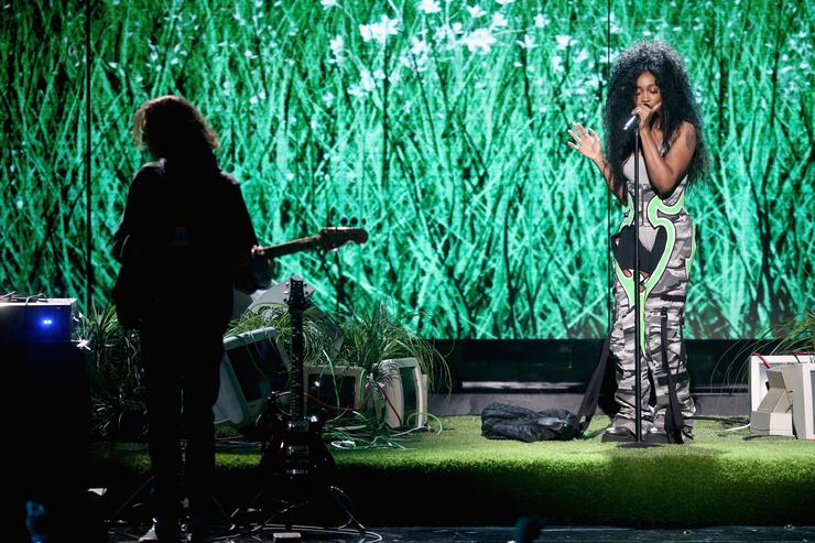 SZA performs onstage at 2017 BET Awards at Microsoft Theater