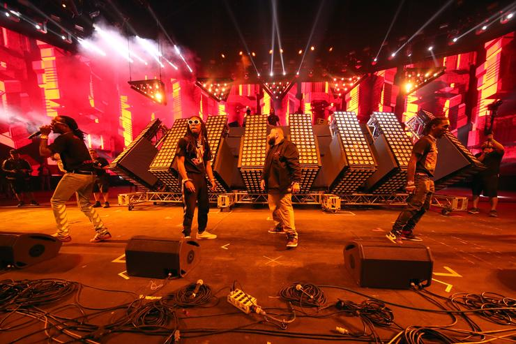 Rappers Quavo and Takeoff of Migos, DJ Khaled and Offset of Migos perform at the Sahara stage during day 3 of the Coachella Valley Music And Arts Festival