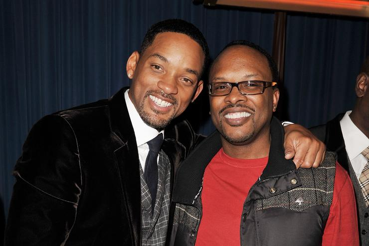 Actor Will Smith and DJ Jeffrey Townes of DJ Jazzy Jeff and The Fresh Prince pose at the afterparty for the premiere of Columbia Pictures' 'Seven Pounds' at the Armand Hammer Museum on December 16, 2008 in Los Angeles, California