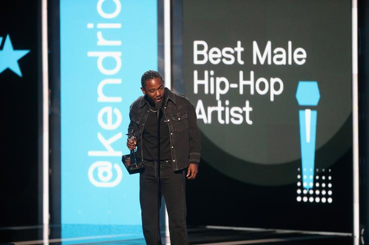 Kendrick Lamar accepts the Best Male Hip Hop Artist award onstage at 2017 BET Awards at Microsoft Theater on June 25, 2017 in Los Angeles, California.