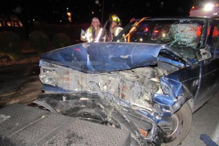 Pictures of Macklemore's head-on car crash