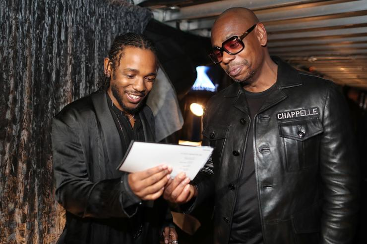 Kendrick Lamar and Dave Chappelle at the 2018 Grammys