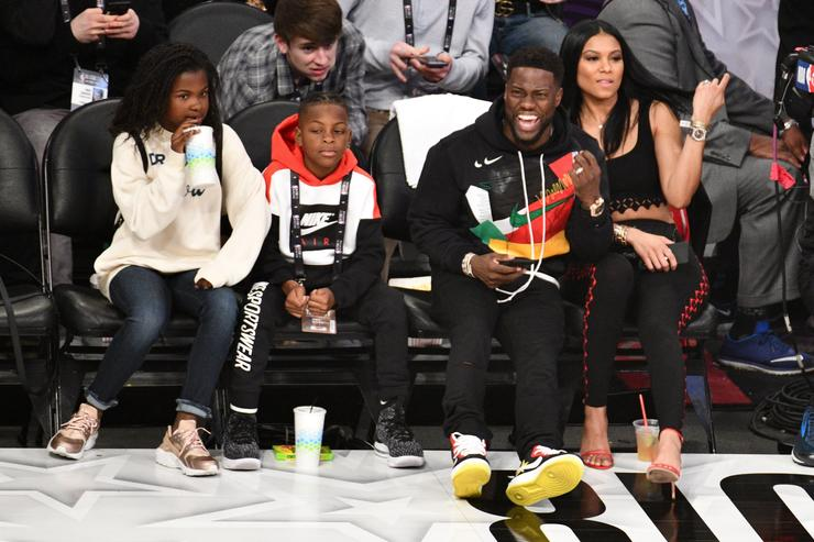 Kevin Hart and his family at the NBA All-Star Game