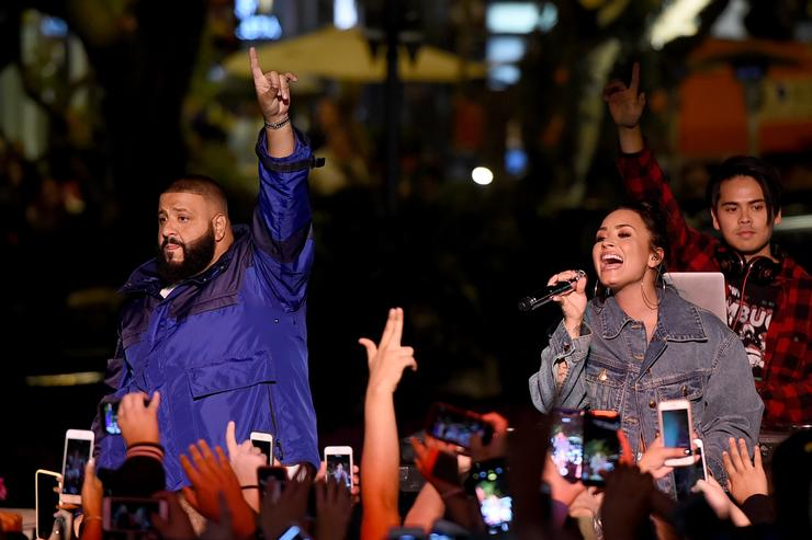 Demi Lovato and DJ Khaled appear at the Fan Luv event at The Grove on November 2, 2017 in Los Angeles, California