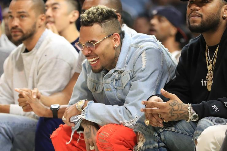 Chris Brown attends week eight of the BIG3 three on three basketball league at Staples Center on August 13, 2017 in Los Angeles, California