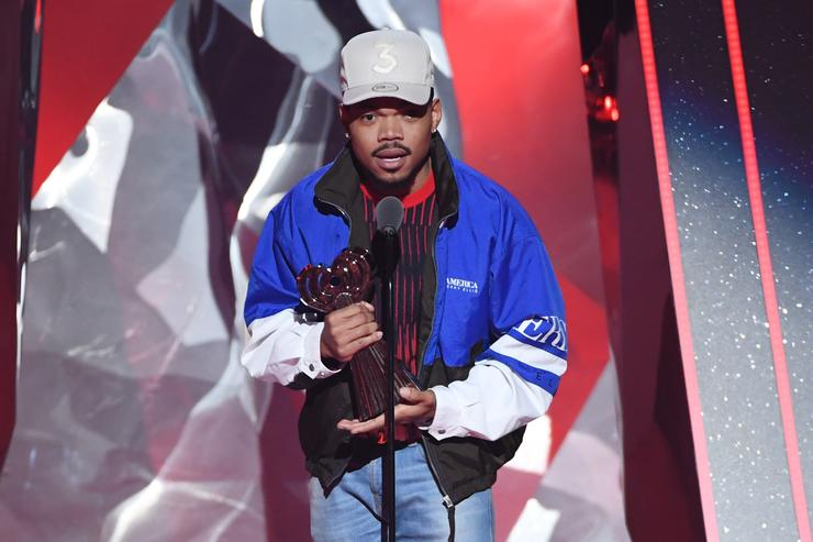 Chance the Rapper accepts the Innovator Award onstage during the 2018 iHeartRadio Music Awards which broadcasted live on TBS, TNT, and truTV at The Forum on March 11, 2018 in Inglewood, California.