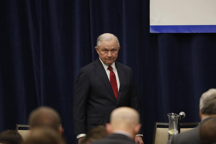 Attorney General Jeff Sessions is seen at the California Peace Officers' Association 26th Annual Law Enforcement Legislative Day on March 7, 2018 in Sacramento, California. The attorney general is expected to reveal a major sanctuary jurisdiction announcement as the Justice Department sued California over its sanctuary policies.