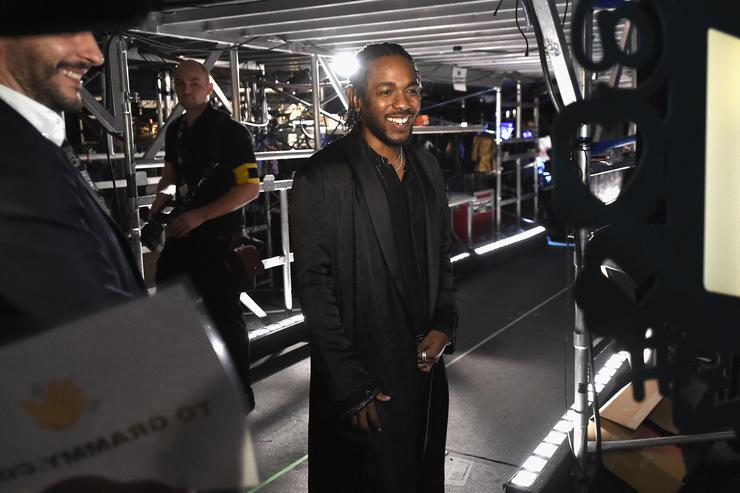 Kendrick Lamar poses backstage at the 60th Annual GRAMMY Awards at Madison Square Garden on January 28, 2018 in New York City
