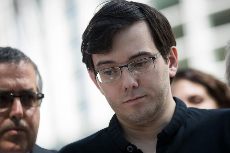 Former pharmaceutical executive Martin Shkreli pauses while speaking to the press after the jury issued a verdict in his case at the U.S. District Court for the Eastern District of New York, August 4, 2017 in the Brooklyn borough of New York City. Shkreli was found guilty on three of the eight counts involving securities fraud and conspiracy to commit securities and wire fraud.