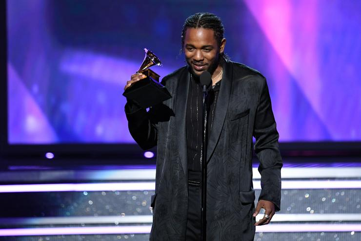 Recording artist Kendrick Lamar accepts Best Rap Album for 'DAMN.' onstage during the 60th Annual GRAMMY Awards at Madison Square Garden on January 28, 2018 in New York City.