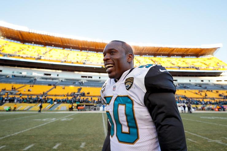Telvin Smith #50 of the Jacksonville Jaguars reacts after defeating the Pittsburgh Steelers in the AFC Divisional Playoff game at Heinz Field on January 14, 2018 in Pittsburgh, Pennsylvania.