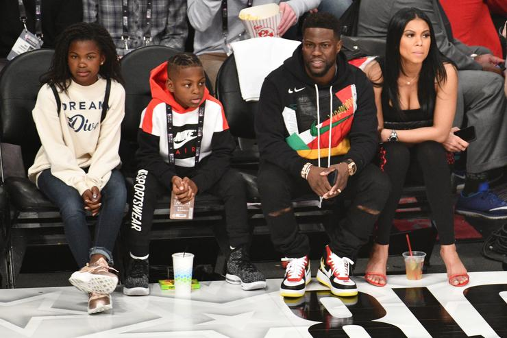 Kevin Hart Eniko Parrish Hendrix Hart and Heaven Hart attend The 67th NBA All Star Game Team Le Bron Vs. Team Stephen at Staples Center