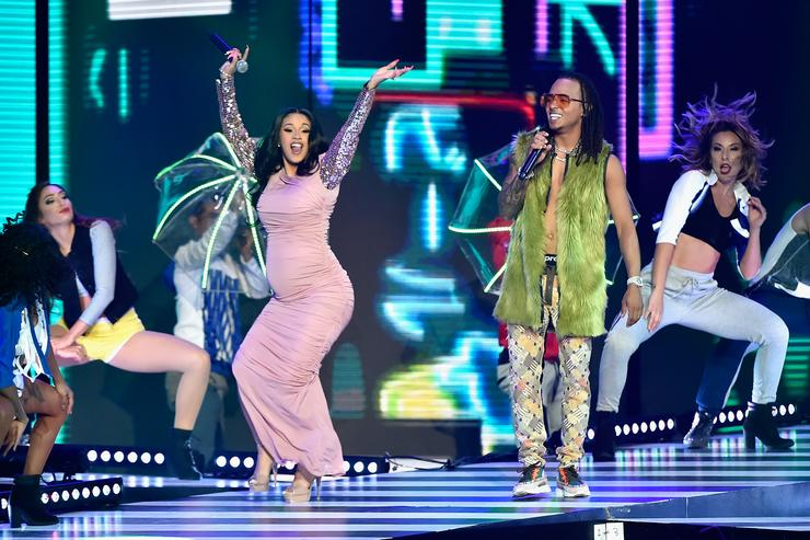 Cardi B (L) and Ozuna perform onstage at the 2018 Billboard Latin Music Awards at the Mandalay Bay Events Center on April 26, 2018 in Las Vegas, Nevada.