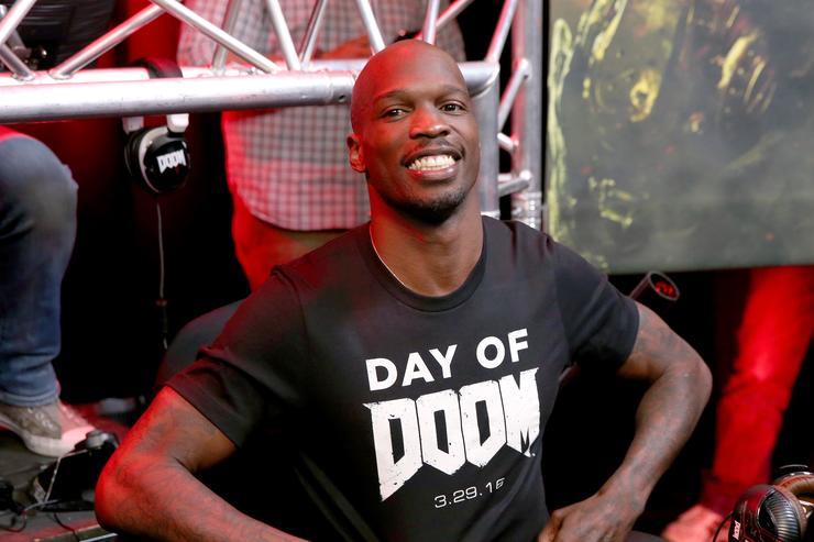 Former NFL player Chad 'Ochocinco' Johnson attends as athletes and YouTube stars team for DOOM Videogame Tournament at Siren Studios on March 29, 2016 in Hollywood, California.