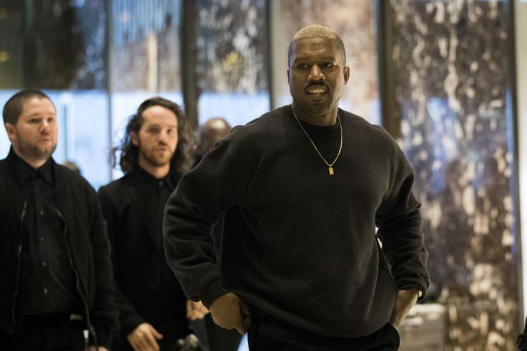 Kanye West arrives at Trump Tower, December 13, 2016 in New York City. President-elect Donald Trump and his transition team are in the process of filling cabinet and other high level positions for the new administration.