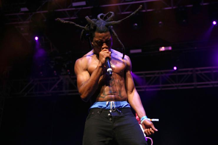 Rapper Denzel Curry performs on the Gobi stage during day 1 of the 2017 Coachella Valley Music & Arts Festival Weekend 1 at the Empire Polo Club on April 14, 2017 in Indio, California.