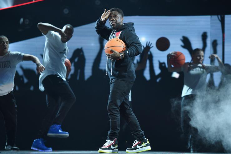 Kevin Hart performs onstage during the NBA All-Star Game 2018 at Staples Center on February 18, 2018 in Los Angeles, California.