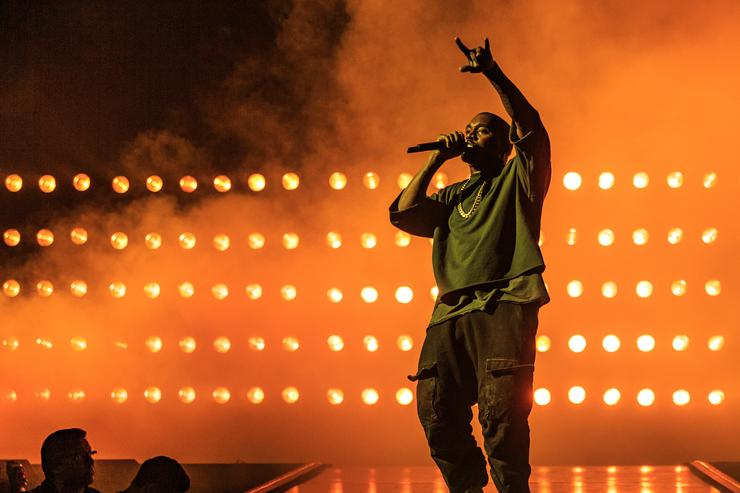 Recording artist Kanye West performs onstage at the 2015 iHeartRadio Music Festival at MGM Grand Garden Arena on September 18, 2015 in Las Vegas, Nevada.