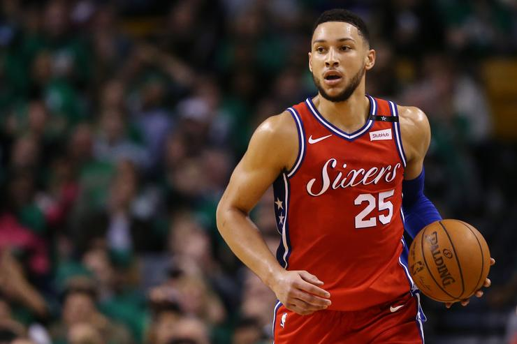 Ben Simmons #25 of the Philadelphia 76ers dribbles against the Boston Celtics during the second quarter of Game One of Round Two of the 2018 NBA Playoffs at TD Garden on April 30, 2018 in Boston, Massachusetts
