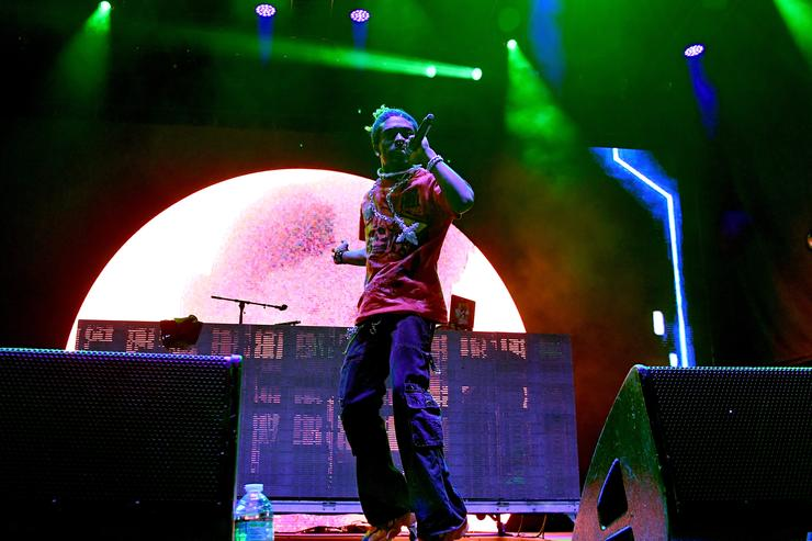 Lil Uzi Vert performs onstage at adidas Creates 747 Warehouse St. - an event in basketball culture on February 17, 2018 in Los Angeles, California.