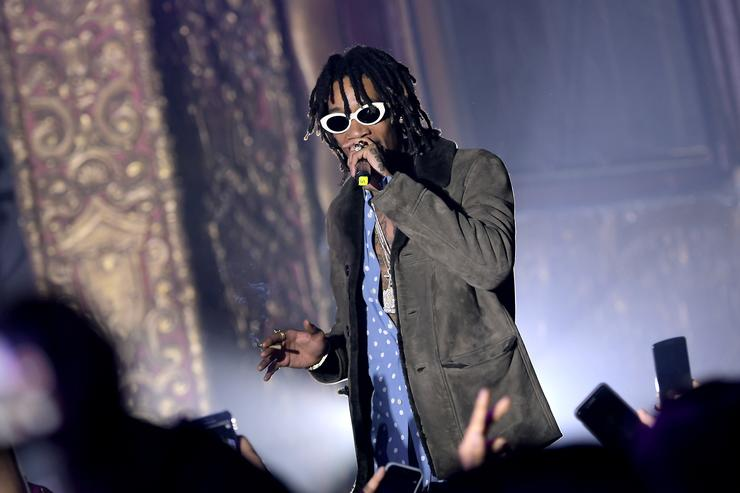 Wiz Khalifa performs onstage during the Spotify Best New Artist Nominees celebration at Belasco Theatre on 9, 2017 in Los Angeles, California