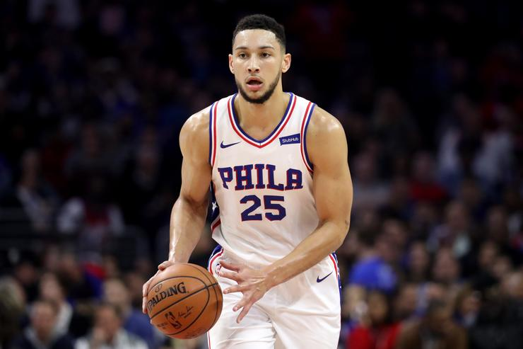 Ben Simmons #25 of the Philadelphia 76ers dribbles the ball against the Golden State Warriors at Wells Fargo Center on November 18, 2017 in Philadelphia,Pennsylvania